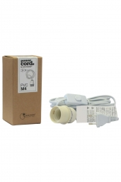 electricity cable white (E27,  European plug)
